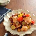 ごはんがすすむ♪鮭とゴロゴロ野菜のオイスター炒め