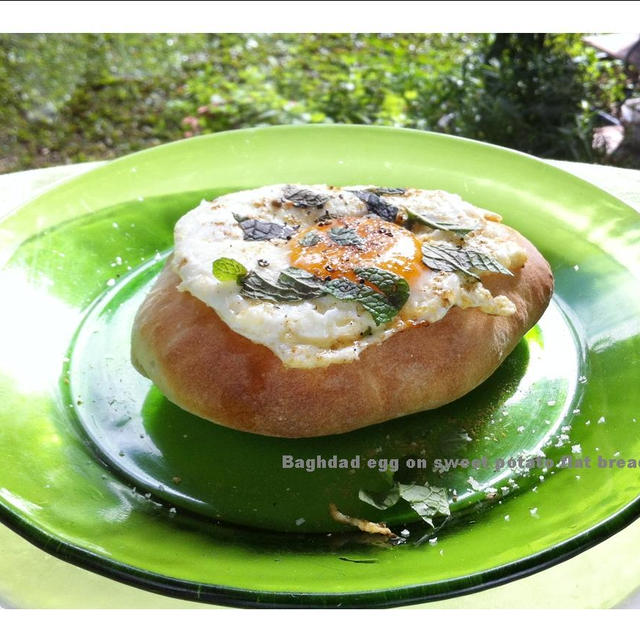 バグダッドの目玉焼き、お芋のフラットパンにのせて