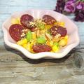 レンジで簡単コーンと枝豆とサラミのアーモンドチーズがけ(2分)(お弁当)