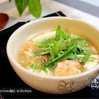 海老とくずし豆腐のとろみスープ♪