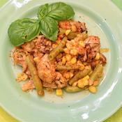牡蠣とコーンといんげんのビネガーアヒージョ