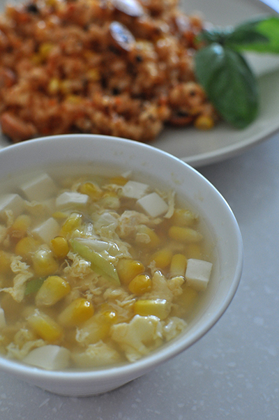 【とうもろこしのかき玉スープ】