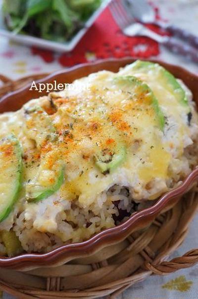 ◆時短リメイクズボラ飯◆さつまいも炊き込みご飯とアボカドの和風豆腐ソースドリア