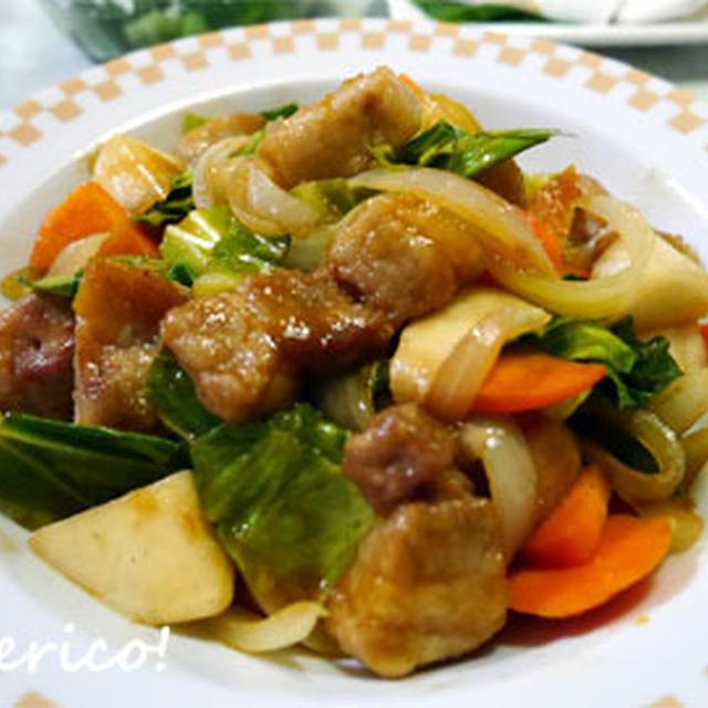 旬のカブと野菜たっぷり、酢豚風炒め