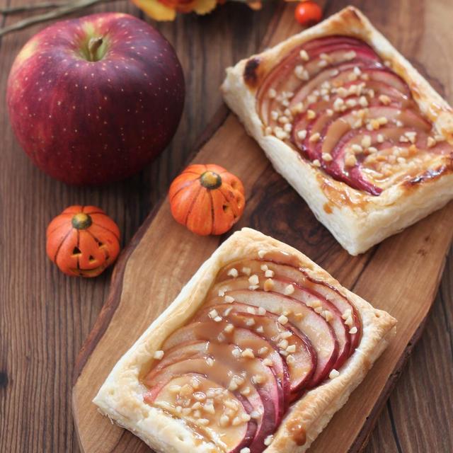 今年のハロウィンはカボチャじゃなくてりんご!冷凍パイシートで簡単キャラメルアップルパイ