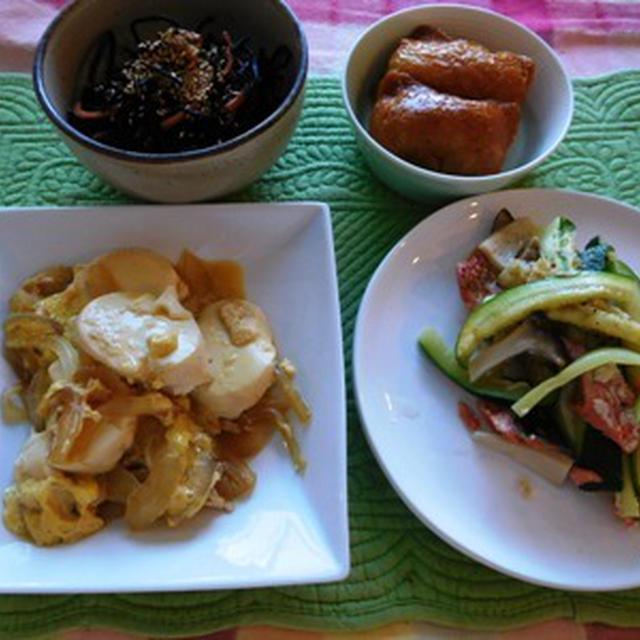 垣根の剪定~ 絹ごし豆腐と玉ねぎのたまごとじ ~ 鮭の塩レモン蒸し