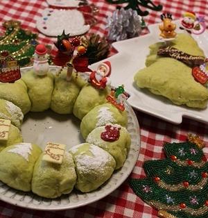 レンジ発酵★クリスマスリースのちぎりパン