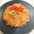 ベーコンと玉ねぎとトマトの激ウマスパゲッティ