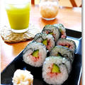 かっぱ寿司のお茶と一緒に~*梅&きゅうりの太巻き♪