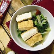 厚揚げと野菜の煮浸し 麻辣醤添え