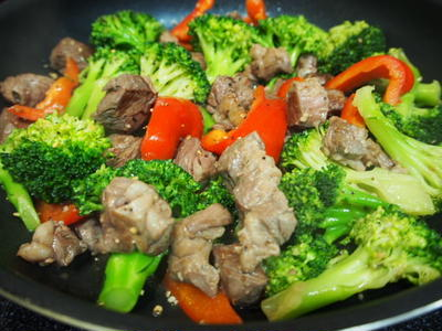 スパイシーコロコロステーキ♪~野菜もたっぷりいただきます!