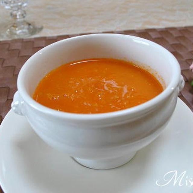 トマトとほたて貝柱の冷製パスタと トマトスープ