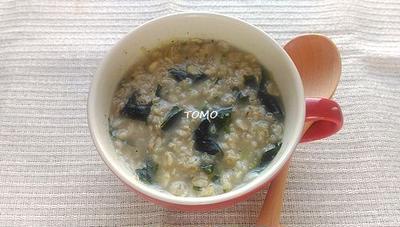 レンジで簡単!理研ビタミン「スパイシーねぎ塩スープ」 de オートミールスープ