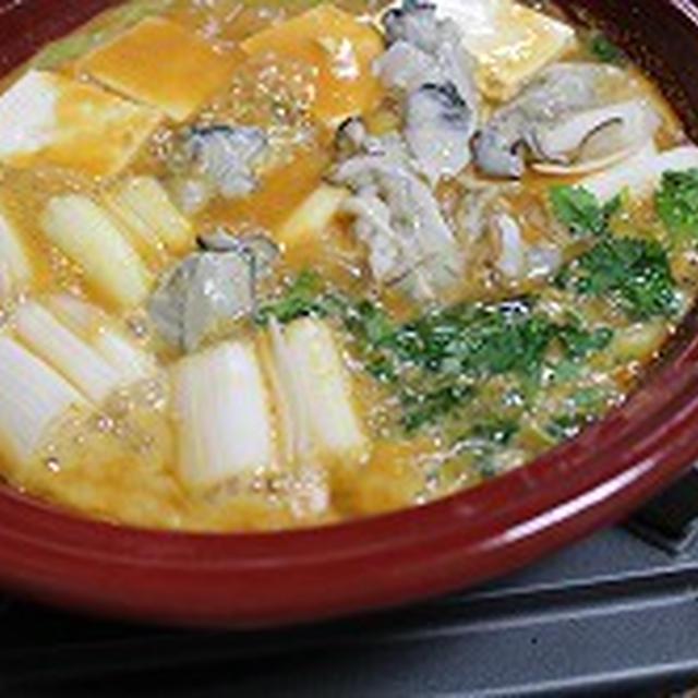 タジンで作る牡蠣の土手鍋