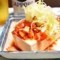 トマトとキムチの冷ややっこ。あとひと品に、簡単で低糖質、たんぱく質も摂れるおつまみ。