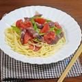 ホタルイカとアスパラ トマトの酢味噌和え 冷製パスタ