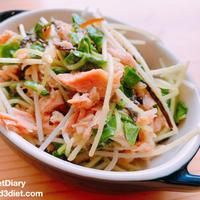 【レシピ】オクラの新芽とツナの塩昆布マリネ