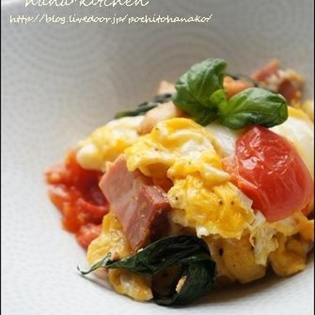 【バジルレシピ】トマトとフレッシュバジルの卵炒め。