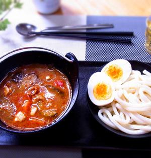 ピリ辛豚汁スープのつけうどん(豚汁リメイク) & 100均の鉄鍋