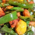 ■続・菜園料理三昧 簡単5分!【インゲン・ピーマン・トマト・ベーコンのコチュジャンバター炒め】