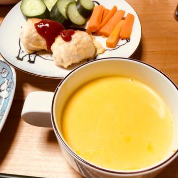 鶏ササミのチーズピカタとかぼちゃのスープ♪