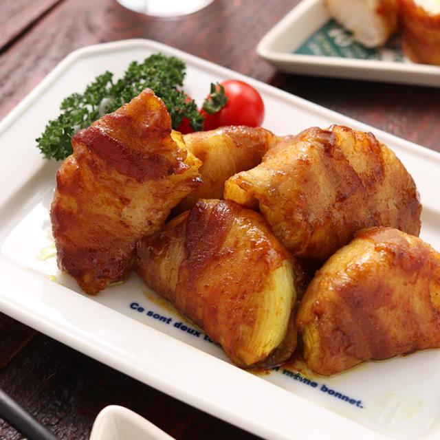 新玉ねぎの肉巻き♡カレー照り焼き【#作り置き #お弁当 #冷凍保存 #主菜】