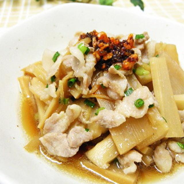 クック膳レシピ★メンマと豚肉の中華風煮。食べるラー油もまぜまぜ~。