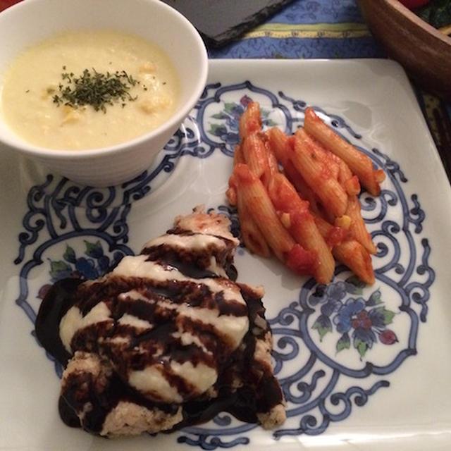 鶏胸肉のバルサミコ&ホワイトソース掛け2。