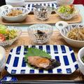 【献立】晩ごはん/豚肉と糸こんのきんぴら/鰤の照り焼き/塩焼き