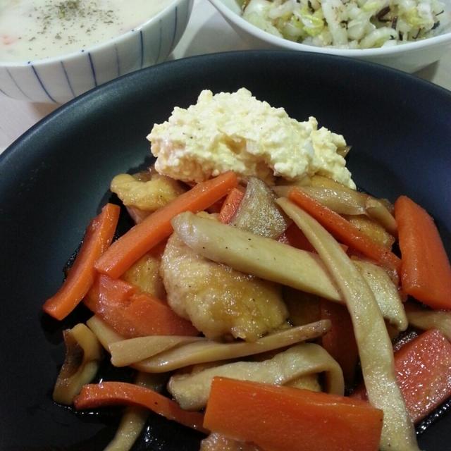 鶏むね肉とエリンギの炒め物と今日もあさりの出番です。