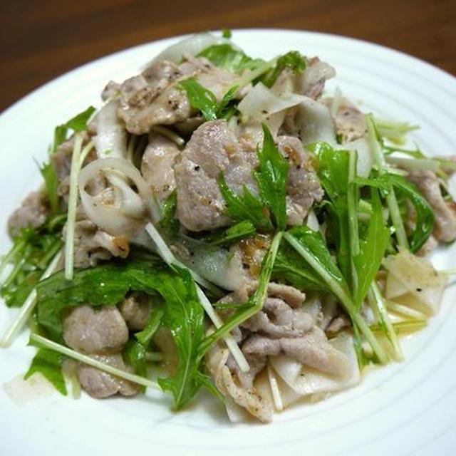 【おうちパーティー】豚肉の大根と水菜の梅肉ポン酢和え♪