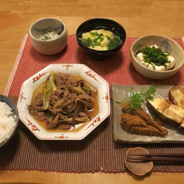 牛肉のすき煮 や金胡麻こあじの晩ご飯 と ベニバスモモの花♪
