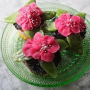 鬼滅の刃のニチニチ草(ビンカ)な餡フラワーカップケーキ♪