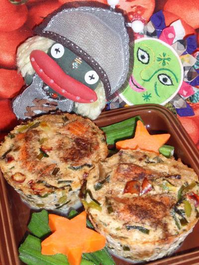 鮭と搾菜の白ごま豆腐&ゴーヤとパイナップルのサラダ(お家カフェ)