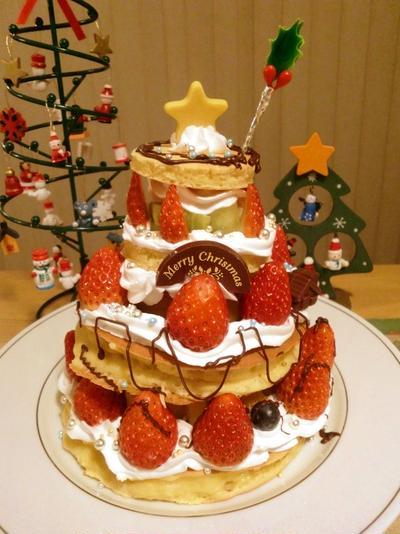 りとる家のクリスマスケーキ2010*ホットケーキで簡単に