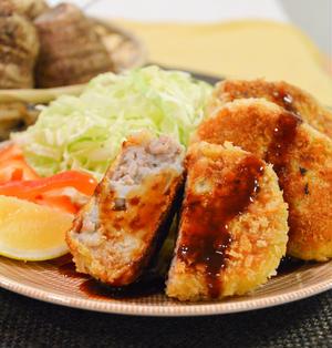 里芋とひき肉の焼きコロッケ。里芋のねっとり感が美味しい♪【農家のレシピ帳】