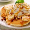 ホットケーキミックスHMで簡単お菓子♪卵と牛乳不使用♡豆腐のモチモチパンケーキ♥キャラメルバナナ豆乳クリーム