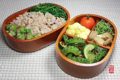 夏野菜の緑一色弁当