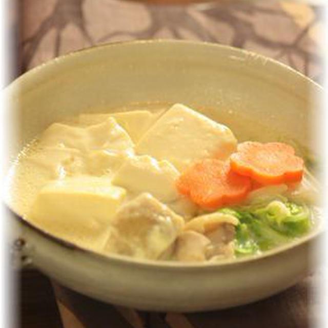 ふわとろ お豆腐の豆乳煮。 と献立。