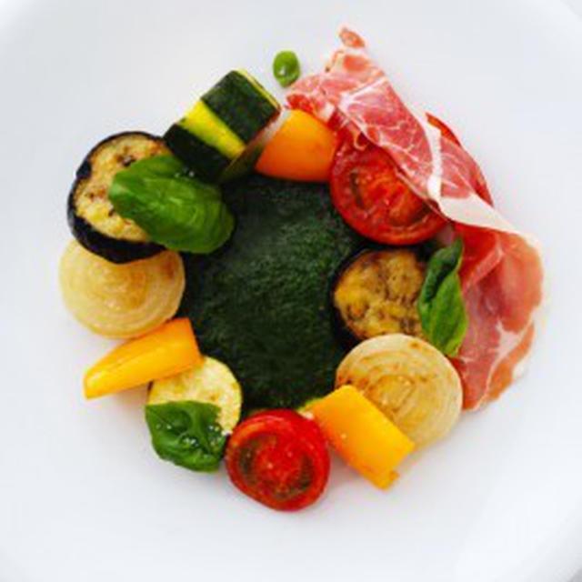 夏野菜のロースト、ピストゥ仕立てLEGUMES D'ETE ROTIS AU PISTOU