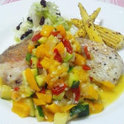 真鯛のグリル カラフル野菜&すだちソース