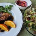 空豆と生ハムのサラダ&オヒョウのステーキ・オレンジソース