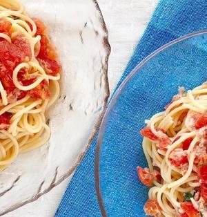 【和風も洋風も◎】トマト大葉ツナの冷製パスタ