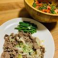 牛肉炒めのディルソースがけとトマト&シーアスパラガスのサラダ【15分レシピ】
