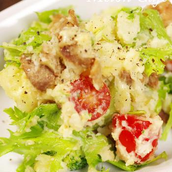 肉入りポテトサラダ☆簡単がっつり野菜と肉おかず