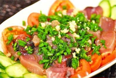 こんぶきび酢でお刺身サラダ