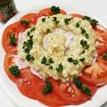 トマトとタコのカルパッチョ和風オニオンソース