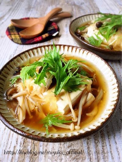 ♡豆腐がごちそう♡きのこの和風あんかけ豆腐♡【#簡単#時短#節約】