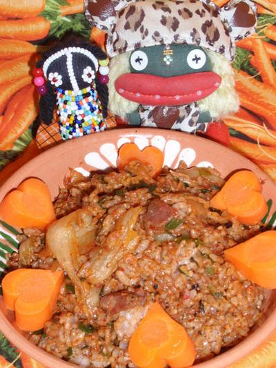 サムギョプサル風キムチご飯&里芋の黒酢煮(お家カフェ)