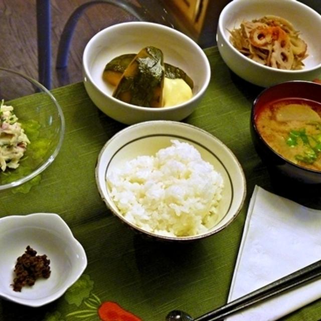 カボチャの煮付け、きんぴら等々、久々の和食